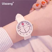 Lovely Carton Cat Face Design Girls Quartz Watches Slim Jelly Rubble Women Wristwatch Students Sweet Watch Kids Cute Clock Hours(China)