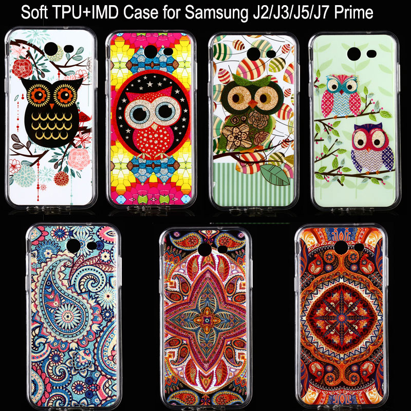 Golden Powder Transparent Edges OWL Soft IMD TPU Back Cover For Samsung Galaxy J2 J3 J5 J7 Prime On5 On7 2016 Mobile Phone Cases(China (Mainland))