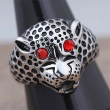 New Arrival Stainless Steel Fashion Leopard Head Finger Rings For Women Popular Punk Rock Party Animal Jewelry Gift 2016 (A420)
