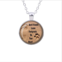 Dog Lovers Necklace, Best Friends Necklace, Footprints, Love, Heart, Dog Paw Prints Image Pendant Handmade Necklace