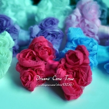 "30pcs/lot 3"" Fashion Cotton Hair Bows For Children Accessories DIY Crochet Flower Bows For Baby Headband Tulle Mesh Flower Bows"