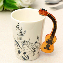 Novelty Styles Music Note Guitar Ceramic Cup Personality Milk Juice Lemon Mug Coffee Tea Cup Home Office Drinkware Unique Gift