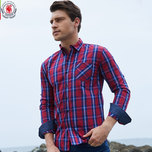 2017 New Arrival Men's shirt  Long Sleeve Plaid Shirts Mens Dress Shirt Brand Casual Denim Style Checks Shirts 104