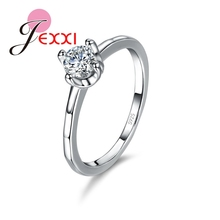 JEXXI Simple Design Newest Fashion Women 925 Sterling Silver Jewelry Girls Female Cubiz Zircon Smooth Wedding Ring Gift
