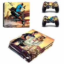 Newest GTA Vinyl Decal PS4 Pro Skin Stickers for Sony PlayStation 4 Pro Console and 2 Controllers Decorative Skins