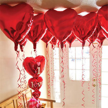 10pcs 10inch Heart Shaped Aluminum Foil Balloons Wedding Birthday Festival Party Supplies Helium Balloon 6ZSH034-10(China)