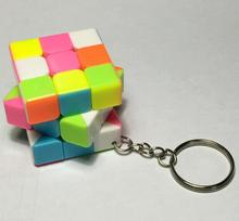 3*3*3 rainbow Mini Puzzle Cube KeyChain Magic Cube keyring Educational Decompression Cube Puzzle Toy for Children Gift