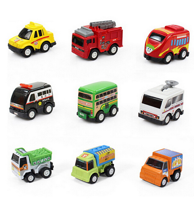 6pcslot new classic boy girl truck vehicle kids child toy mini small pull back