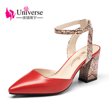 Universe Genuine Leather Woman Sandals Sexy Ankle Strap Snake Skin Prints High Heel Shoes G130(China)