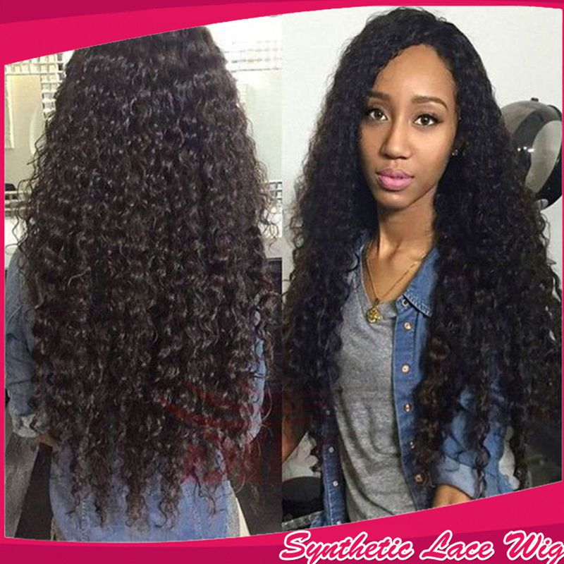 New Top Quality Soft Brazilian Synthetic Lace Front Wig Heat Resistant Kinky Curly Hair 180% Density Cheap Wigs For Black Women<br><br>Aliexpress