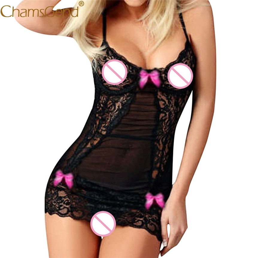 Chamsgend Newly Design Women Sexy Lace Exotic Dress Strappy Linegrie Babydolls See Through Sleepwear Underwear 80424(China)