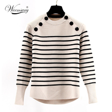 women's fall winter brand runway fashion high quality wool knitted thick striped pullovers sweater jumper Pull Femme WS-111