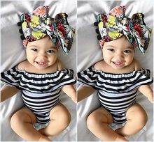 Fashion Newborn Baby Girl Romper Cotton Shoulder Ruffle Striped Romper Jumpsuit Summer Baby Girl Clothes Sunsuit