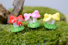 4 pcs/lot mini Small Mushroom four color Small ornaments three mushrooms fairy decor home decor Miniature  Garden