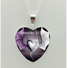 2017 New Couple Dragons Heart Necklace Fire Dragon Heart Jewelry Animal Heart Shaped Necklace Pendant(China)