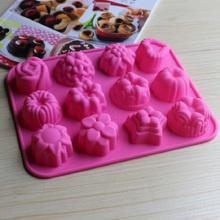 silicone mold 12 Holes Different Flowers Ice Chocolate Making Tools Cake Candy Jelly Soap Mold Baking Cake Decorating Tools(China)