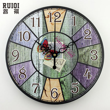 retro wall decor clocks absolutely silent bedroom watch wall vintage home decor round wall clock modern design unique gift(China)