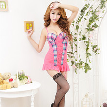 V-Neck Sling Lace Lingerie Sexy Hot Erotic Intimate Night Pink Plaid Sleepwear Sexy Costumes For Women Clothes Negligees(China)