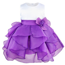 Kids Infant Girls Flower Wedding Dresses Petals Dress Children Bridesmaid Toddler Elegant Dress Pageant Bridal Tulle Party Dress