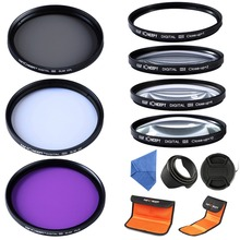 K&F concept hotsale 12in1 For Sony A57 A77 Close up 1 2 4 10 UV CPL FLD 62mm Lens Filter Kit +Lens Hood Cap(China)