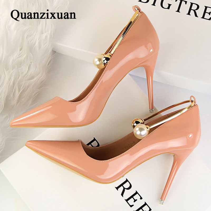 Women Pumps Pointed Toe High Heels Party Shoes Elegant Women Shoes High Heels String Bead Red<br>