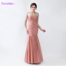 Long Mermaid Evening Dress New Design Peach Brown Taffeta Formal Evening Gown Women Prom Dresses(China)