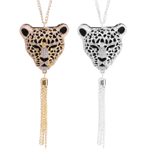 Newest Hot European And American Popular Queen Leopard Sweater Tassel Pendant Necklace For Women Chain Long Necklace