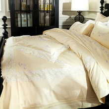 French Egyptian cotton 800TC satin embroidery lace Wedding bedding set beige duvet cover flat sheet bed linen/quilt cover set
