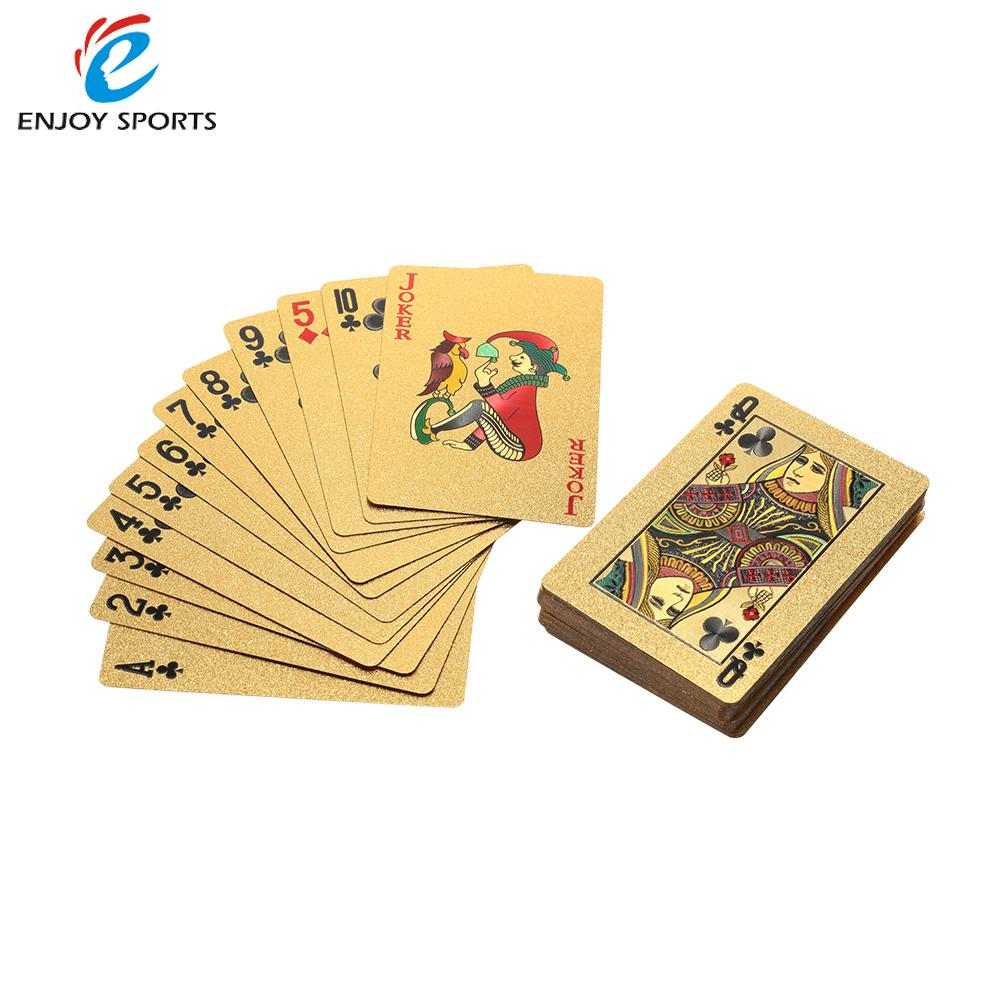 Pure 24K Playing Cards Gold Foil Plated Poker Card Texas Hold'em Poker Funny High-grade Sports Gambling Pokerstars Wood Box(China (Mainland))