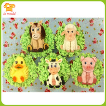 Mould double sugar baby 5 kinds of farm animals Baby sheep sheep dog baby pig baby birds their party mold