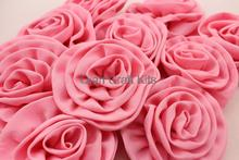 40pcs Silk crepe pink flowers rolled rosette for wedding reception bridal party wedding hair piece diy 90mm you pick color