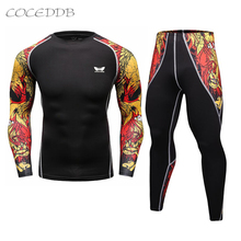 Men Compression Shirts MMA Rashguard Keep Fit Fitness Long Sleeves Base Layer Skin Tight Weight Lifting Elastic Mens T Shirts(China)