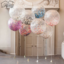 5pcs/lot Creative 18 inch Colorful Balloons With Confetti Romantic Wedding Decoration Festival Birthday Party Supplies Helium