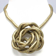 Manufacture 5mm 90cm Bronze Plated Iron Bendable Flexible Bendy Snake Necklace,10pcs/pack(China)
