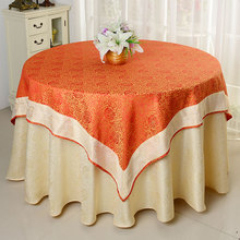 Jacquard table cloth damask table cover for wedding tables decoration round underlay table cloth with square overlay top cover(China)