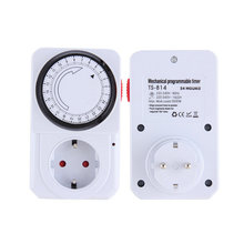 Hot New US EU Plug 24 Hour Mechanical Electrical Plug Program Timer Power Switch Socket Energy Saver White Color