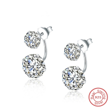 925 Sterling Silver Double Sided AAA Cubic Zirconia Earrings Studs Jewelry for Women (E27-1)