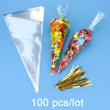 100pcs/lot DIY Wedding Birthday Party Sweet Cellophane Clear Candy Cone Bags Cheap Organza Pouches Decoration(China)
