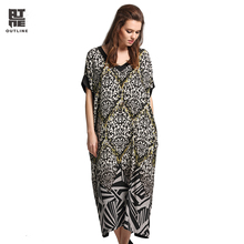 Outline Women Vintage Dress Lady Elegant Summer Floral Geometric Print Patch With Pocket Short Sleeve V-neck Long Dress L172Y015