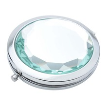 Travel Compact Pocket Crystal Folding Makeup Mirror, Mintcream(China)