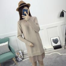 2017 New Women dress Knitting Grain Base In Long Pleated Two Piece Inside Take A Word Dresses Khaki Brown White 1128(China)