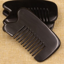 Natural anti-static buffalo Horn art Comb Hair Care Gua Sha massage brush wide teeth comb curly hair hairbrush combs gift