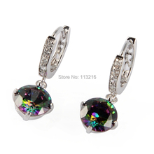 Cute Jewelry white Cubic Zirconia and Rainbow stone Wholesale Silver Plated Earrings TR723G best sell Rave reviews sumptuousness