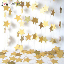 JOY-ENLIFE 1set Paper Star Banner Garlands 4M Birthday String Chain Banner Ornaments Curtain Wedding Party Room Decor Supplies(China)