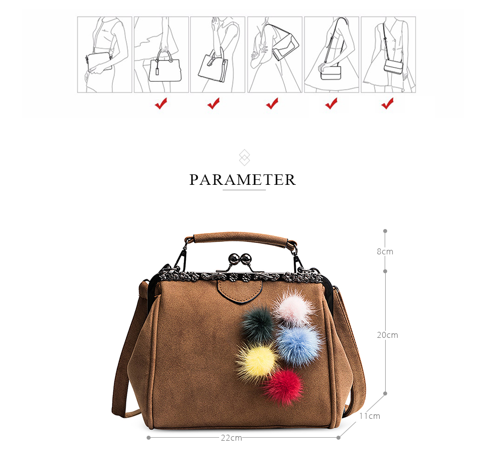 CHALLEN Fuzzy Balls Handbag Women Kiss-lock Tote Bag Ladies Fashon Faux Suede  Solid Color Hasp Soft Bags Free Shipping