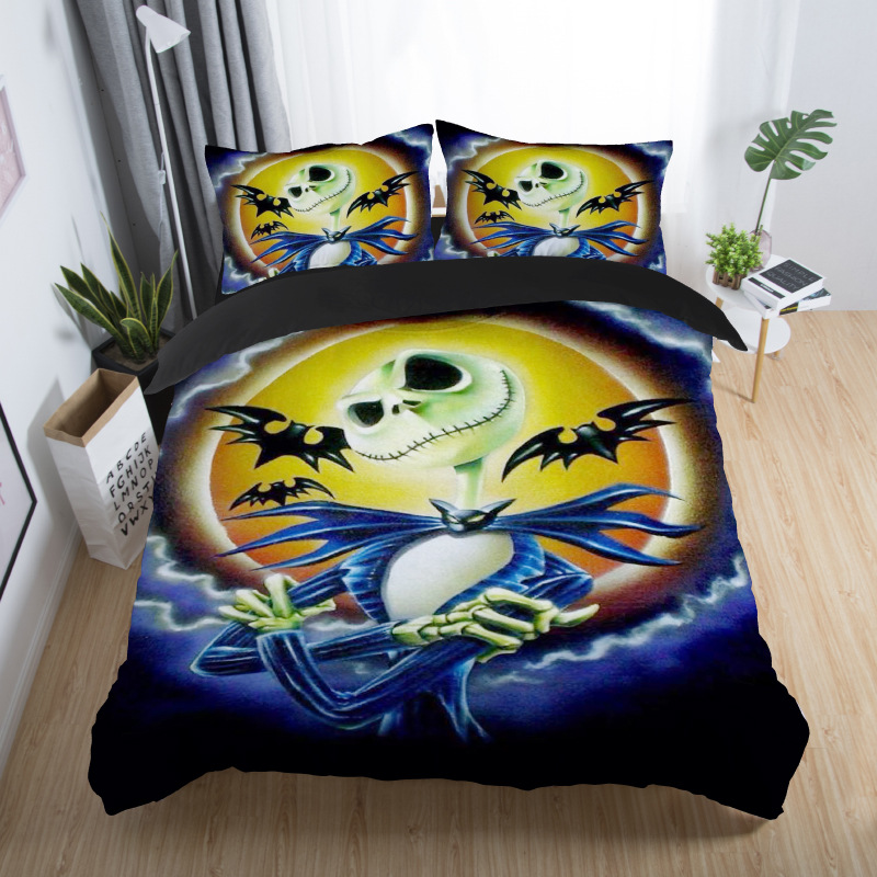 skull couples bedding set skull bed set 3D Nightmare Before Christmas Duvet Cover Jack and Sally Valentine`s Day Rose Decor 5 (2)