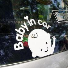 Cute and Lovely Baby In Car Waving Baby on Board Safety Sign Car Decal / Sticker Ddesivos De Parede Car Sticker Car Decoration(China)