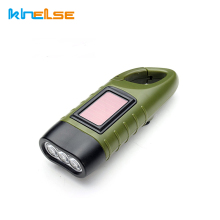 Mini Emergency Hand crank Solar Flashlight Rechargeable LED Light Lamp Charging Powerful Torch For Camping Outdoor