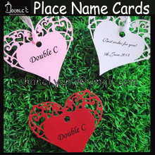 Wine glass wedding decoration,100pcs hearts,wish card,wedding place card,laser cut name place cards