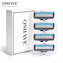 QShave Manual Shaving Razor Blade for Man Blade Refill X5 Blade Plus 1 Trimmer Blade USA World Class Blade, 4 Cartridges(China)